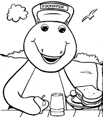 barney bring sandwich coloring pages kids cll printable