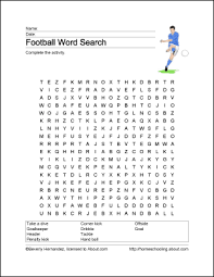 football word search vocabulary work sheet crossword puzzle and more