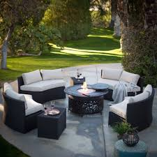 round gas fire pit chat table outdoor patio deck fireplace cast
