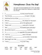 homophones worksheet worksheets language arts and language