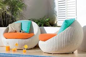 pool patio furniture near me patio decoration orange lather seat and fluffy cushions completing white wicker sofa as modern patio furniture in poolside