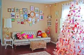 white christmas tree with red and pink decorations christmas