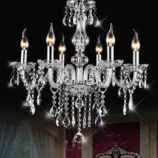 Chandelier Pendant Light E12 6 Heads Clear Chandelier Dining Room Bedroom Ceiling