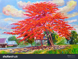 painting oil color landscape original colorful stock illustration