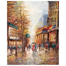 decorative artwork for homes canvas art landscapes oil paintings french street scene colors knife