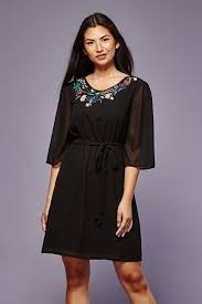 embroidered dress with tie waist