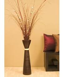 High Vases Willow Branch And Silver Dollar Branches In Tall Glass Vases With