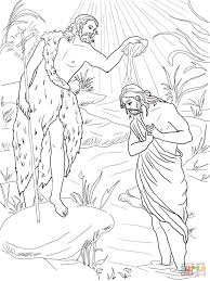 john the baptist baptizing jesus coloring page free printable