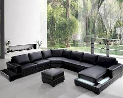 Black Leather Sofa Modern Living Room Reference Of Modern Leather Sectional Sofa