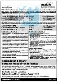 email mandiri pt mandiri tunas finance d3 s1 officer supervisor manager mtf
