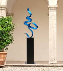 extra large contemporary blue indoor outdoor metal sculpture
