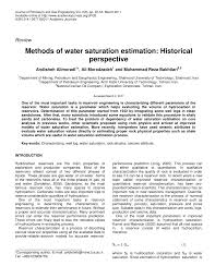 methods of water saturation estimation historical perspective