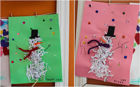 construction paper crafts shredded paper snowmen see mommy doing
