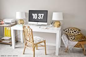 White Parsons Desk Sarah M Dorsey Designs Tn Office Progress Diy Parsons Desk