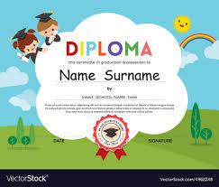 preschool diploma preschool elementary school kids diploma template vector image