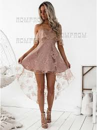 spaghetti dress buy a line spaghetti straps hi lo blush lace homecoming dress