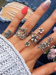 knuckle rings set images Vintage 4 pcs ring set bohemian flower silver rings punk knuckle jpg