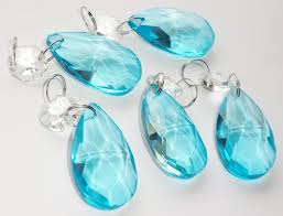 5 aqua teal blue chandelier drops glass crystals droplets oval