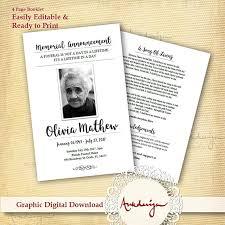 funeral booklet white funeral program template funeral card digital