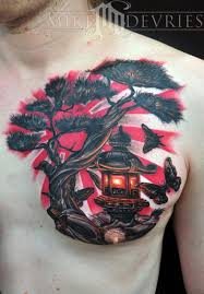 mike devries tattoos color japanese lantern