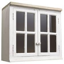 meuble haut vitré de cuisine en manguier ivoire l 70 cm maisons du
