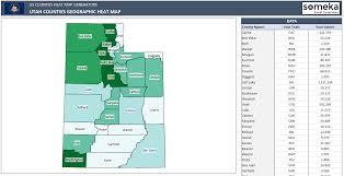 Utah County Map Us Counties Heat Map Generators Automatic Coloring Editable Shapes