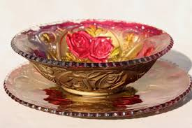 glass roses early 1900s vintage goofus glass carnival dishes glass