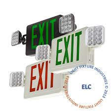exit emergency light combo combo white green led exit light co