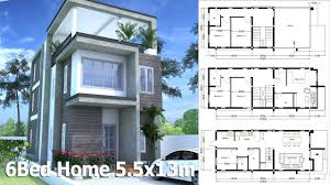 sketchup 3 story home plan 5 5x13m with 6 bedroom youtube