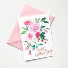 hand painted pink posy watercolor mother u0027s day card 100 original
