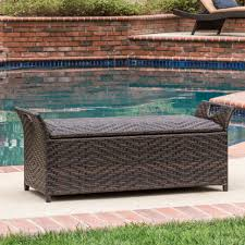 Outdoor Patio Cushion Storage Bench by Outdoor Cushion Storage Wicker 2 Seater Bench Patio Yard Pool