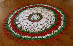 holiday crochet doily round doily white red green doily