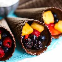 fruit dipped in chocolate chocolate dipped fruit cones with fruit dip our best bites