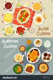 set cuisine austrian swiss cuisine dishes icon set เวกเตอร สต อก 655162132
