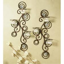 Mirrored Wall Decor by Chic Two Candle Holder Wall Decor Design With Floral Shape Plus