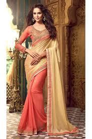 peach color beige peach color fancy wedding saree in silk georgette fabric