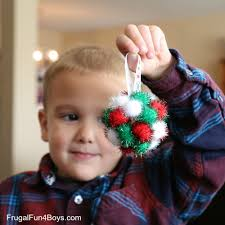 pom pom ball christmas ornaments for kids to make