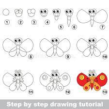 tutorial vector c butterfly drawing tutorial stock vector illustration of paper