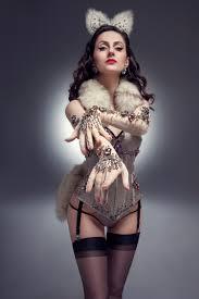 fox burlesque costume corset lingerie fox ears fox tail
