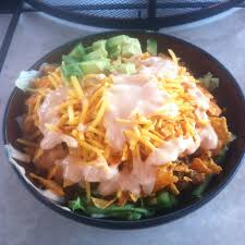 best taco salad ever made with doritos lettuce hamburger meat