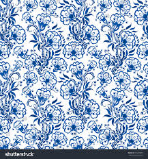 seamless blue floral pattern background style stock illustration
