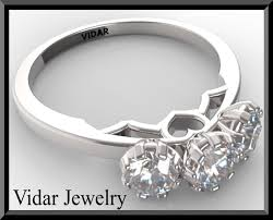 Heart Wedding Rings by 3 Stone Heart Diamond Engagement Ring Vidar Jewelry Unique