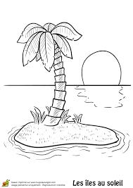 une île déserte et un cocotier à colorier coloriages vacances d