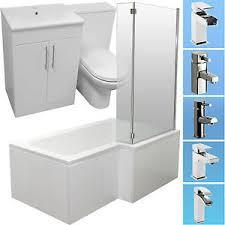 Bathroom Vanity Suites L Shape 1500 Shower Bath Suite Vanity Unit Basin Sink Slim Toilet