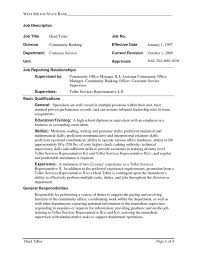 bank teller resume with no experience bank teller duties and