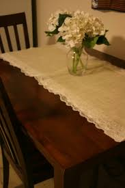 white burlap table runner with ruffles for rectangle small wooden