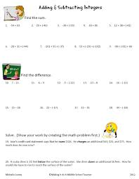 intergers worksheet third grade addition and subtraction word problems