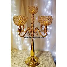 gold centerpieces 2 wedding gold globe candelabra 5 arms with prism