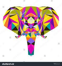 abstract elephant graphic polygonal elephant portrait stock vector