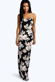 maxi dresses shop boohoo kirsty slinky back detail maxi dress in multi at